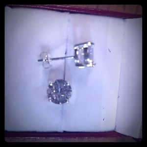 2 carat white sapphire earrings